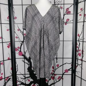 Vince 100% Silk Ladder Print V-Neck Moth Tunic